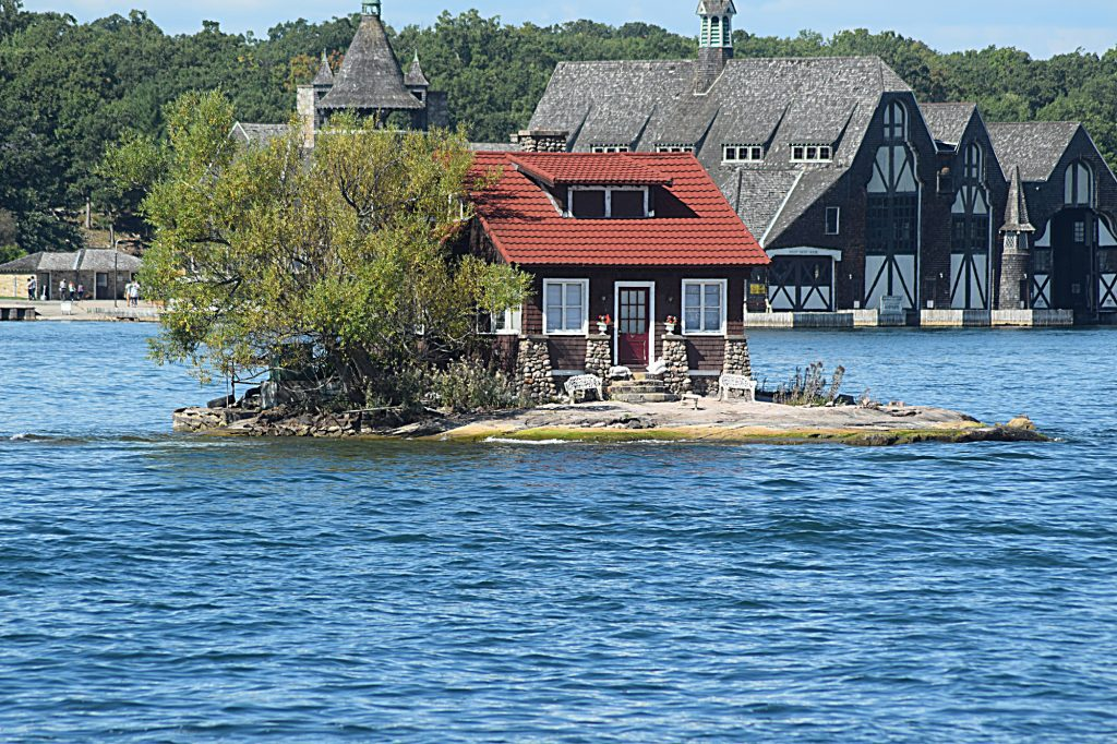 Just Enough Room in front and Bolt's Boat house behind. Please note the telephoto lens makes them look closer together than they are.