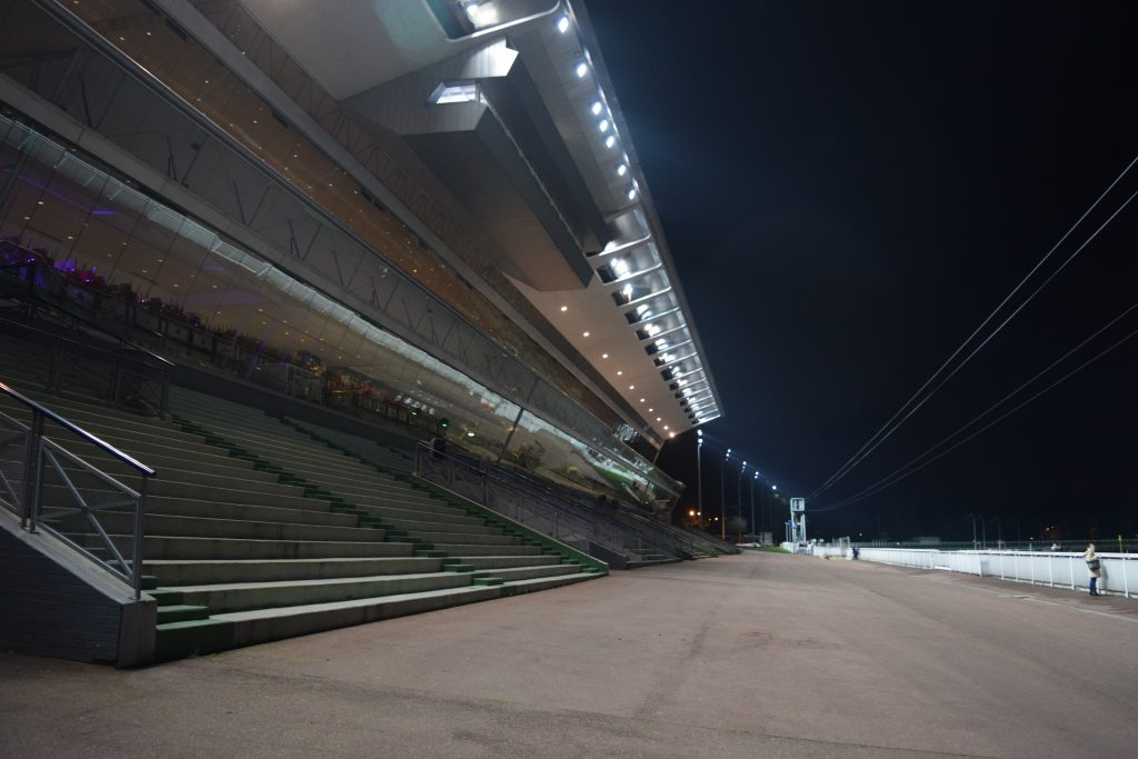 Grandstands from track side. Photograph by Charles Davis