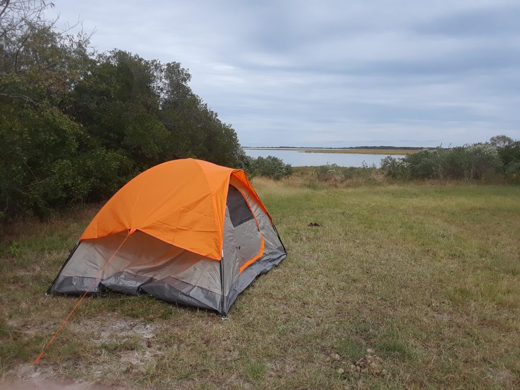 Camping by the bay side of the island