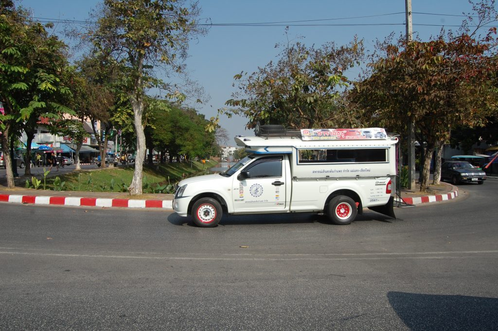 Songthaews ply routes around the city,